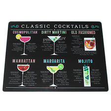 40cm Glass Worktop Saver Protector Chopping Board Black Cocktails Recipe Party
