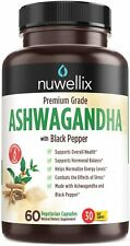 Nuwellix Ashwagandha Capsules w/ Black Pepper Extract, Anxiety and Stress Relief