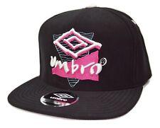 Umbro Soccer Adjustable Retro Logo Black Strapback Flat Bill Football Cap Hat