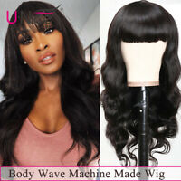 UNice Brazilian Body Wave Straight Full Machine Wigs With Bangs Pre Plucked 150%