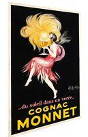 Cognac Monnet  French lady Vintage art Poster Print canvas painting Europe
