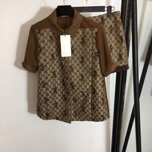 Women Shirt+Shorts Suits 2/PCS Fashion Print Blouse Sets Runway Occident Luxury