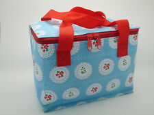 100 Joblot Wholesale Cool Bags Blue Shabby Chic Doily Insulated Lunch Box Bag