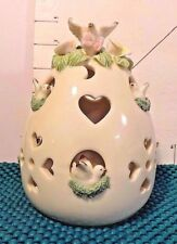 Votive Candle Cover, Doves, Roses, Heart &Circle Cutouts, Collectible Home Decor