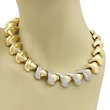 Estate Diamond 18k Two Tone Gold Fancy Swirl Cone Link Collar Necklace