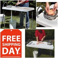 Portable Outdoor Camp Sink Folding Fish Cleaning Table Cooking Camping w/ Faucet