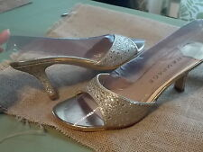Rampage Formal Prom Bridesmaids Glitter Gold & Silver Sandal Heels Classy 9.5 M