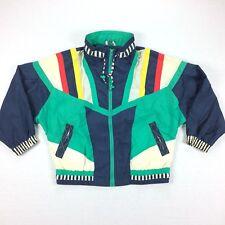Vintage 90s RE Sport Windbreaker Jacket PM Nylon Vaporwave Striped Color Block