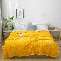 Solid Striped Blanket Throw Flannel Fleece Super Soft Sherpa Warm Fluffy Sofa