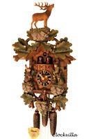 cuckoo clock black forest 8 day original german hunter wood music new painted
