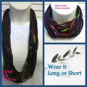 Unique Gift! T-Shirt Yarn Infinity Scarf Fabric Necklace 0497