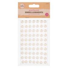 70 x Self Adhesive Pearl Embellishments - Stick-On Card Making Craft Jewels Gems