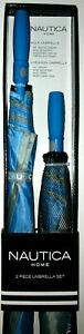 New Design Light Blue/Gray Nautica 2-Pc. Golf Umbrella Set with auto-open design