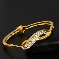 18k Yellow Gold Plated Austrian craystal Noble Graceful Cuff Bangle Bracelet