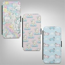 Rainbow Unicorn Print Pattern FLIP WALLET PHONE CASE COVER IPHONE SAMSUNG HUAWEI