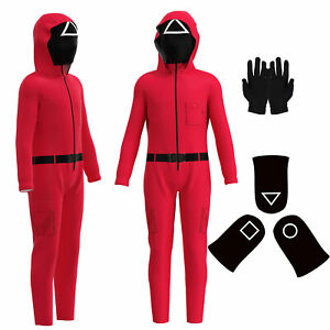 Squid Game Kids Red Jumpsuit Party Boys Girls Cosplay Costume Fancy Dress Outfit