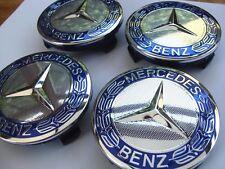 NEU MERCEDES BENZ 4 x 75mm Blau Felgendeckel Nabenkappen
