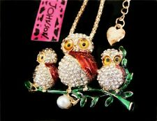 Betsey Johnson Crystal Mom Baby Owls Gold Pendant Chain Necklace Free Gift Bag