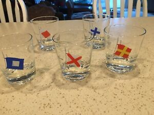 Vintage Set of 5 Nautical Yachting Flag and Logo Drinking Glasses
