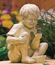 NEW-  Kids Boy  Solar Lighted Fireflies in Jar Garden Statue
