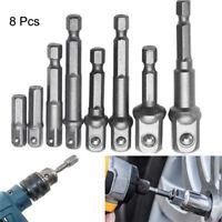 Socket Nut Driver Adaptor Drill Bits Power Extension Bar Hex Shank 1/4,3/8,1/2