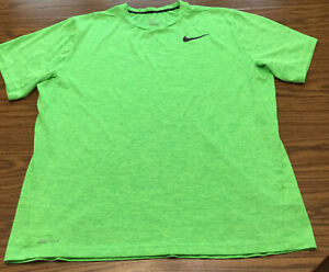 Nike Mens XL Dri Fit Short Sleeve Crew Neck Green Striped