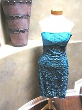 NWT Sue Wong Peacock blue Cocktail evening prom social strapless dress 6