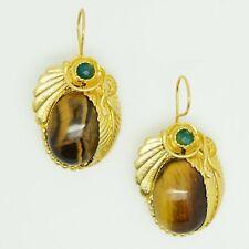 Aylas Agate Tiger Eye earrings - 21ct Gold plated semi precious gemstone - Handm