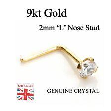 Véritable 9k or nez stud 2.0 mm CZ Cristal Taille Claw Set, L Bend GRATUIT UK POSTE