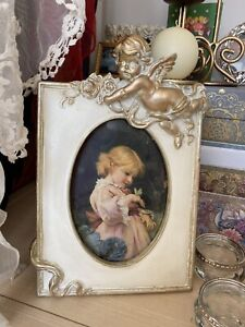 GIRL BUTTERFLY PICTURE Vintage Cherub Frame