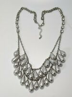 Silver Tone Gray Faceted Acrylic Bead Rhinestone Double Strand Layered Necklace