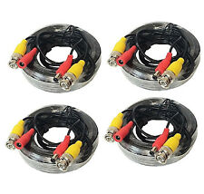 4 x 25ft BNC Video and Power Extension Cable with Connector fit Security Camera