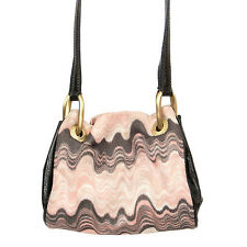 32478 auth MISSONI pink & gray ZIGZAG viscose leather Cross Body Bag Sling