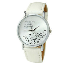 New Women Leather Watch Who Cares I am Late Anyway Letter wrist Watches Gift