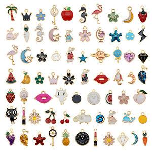 60pcs Bulk Mini Alloy Enamel Charm Pendant Bracelet Dangle Jewelry Making 1-3cm