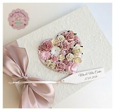 Personalised Wedding Guest Book Luxury Vintage Floral Heart Design. Includes BOX