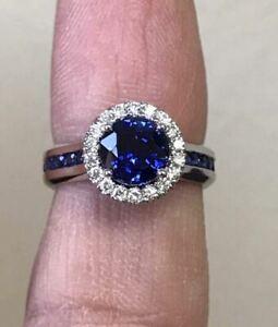 2.02 Ct Round Cut Blue Sapphire Diamond Halo Wedding Ring 14K White Gold Finish