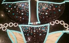 NPC/IBFF Black Sequin Bikini/Aqua Trim Competition Suit