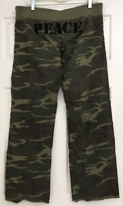Lucky Brand Embroidered Peace Camouflage Sweatpants Lounge