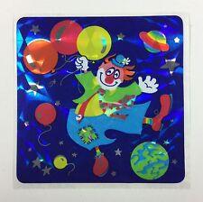 Vtg Rare Sandylion BALLOON SPACE CLOWN Prismatic Glitter Sticker Back Date 1989