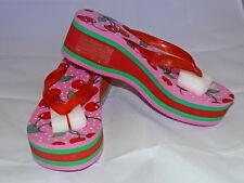 New Wedge Platform Pink Green Red Cherries Flip Flops  Size Large 9-10 Sandals