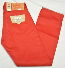Levi's Jeans Men's 30x30 501 Original Straight Shrink To Fit Raw Denim Red P682