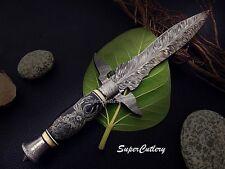 Super Cutlery Custom Damascus Steel Art Dagger Knife Bull Horn Handle Scrimshaw