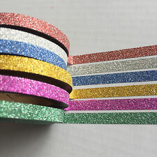 WASHI TAPE THIN BRIGHTS GLITTER SET EACH ROLL 5MM X 10 MTR CRAFT PLAN SCRAP WRAP