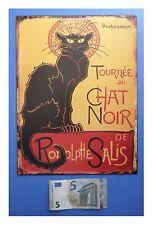 """Targa vintage """"Tournee du chat noir"""" (gatto nero), metallo, cm 33x25"""