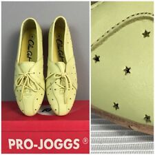 Nib Vintage 1980s Yellow Leather Star Cutout Perforated Flats Lace Up Shoes