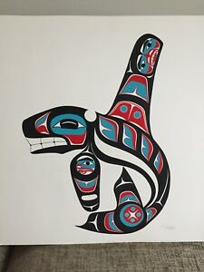 First Nations, Killerwhale, CHARLES BECK, Tlingit, Original Acrylic on paper