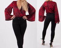 Red Satin Leopard Animal Print Long Bell Sleeve Plunge V Neck Wrap Tops Bodysuit