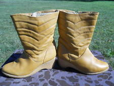 Vintage 1960s 70s Tan Beige Leather Moon Ski Snow Winter Wedge Boots Mod Boho 8