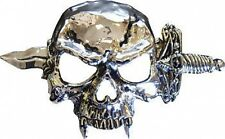 VAMPIRE SKULL AND KNIFE CHROME Belt Buckle
